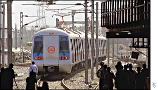Delhi's metro train begins its first trial run