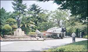 A wartime fighter outside the kamikaze museum in Chiran