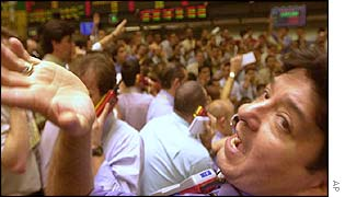 Brokers in Sao Paulo's Bovespa exchange