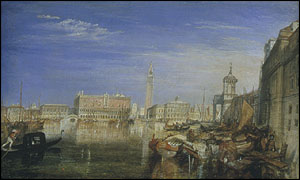 Detail from the Bridge of Sighs, Ducal Palace and Custom-House, Venice: Canaletti Painting by JMW Turner @ Tate Britain
