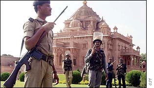Indian special police guard Akshardham temple in Gandhinagar