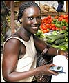 Senegalese woman using a mobile phone