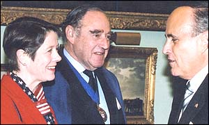 (from left) Judith Mayhew, Lord Mayor Michael Oliver, former New York mayor Rudolph Giuliani