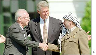Yitzhak Rabin and Yasser Arafat, the 1993 peace prize winners shared with Shimon Peres