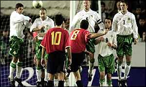 Northern Ireland's wall does the trick against Spain's Barajas