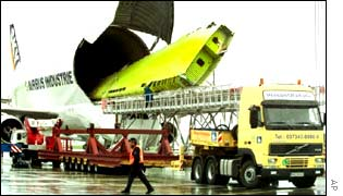 An airbus wing being unloaded from a transport plane