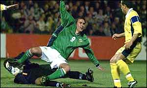 Recalled NI striker David Healy just foiled in front of goal