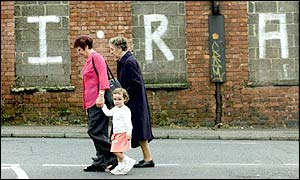 Street scene featuring IRA graffiti