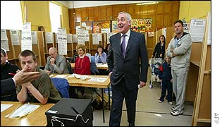 Mr Ahern in a referendum polling station