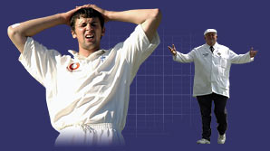 England paceman Steve Harmison looks forlorn as umpire David Shepherd signals a wide