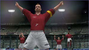 Beckham celebrates yet another goal in Pro Evolution Soccer 2!