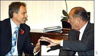 Tony Blair and Jacques Chirac in Brussels