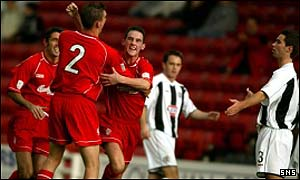 Mark Kerr celebrates scoring against St Mirren