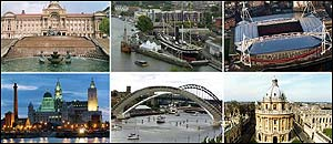 Clockwise from top left: Birmingham, Bristol, Cardiff, Oxford, Newcastle/Gateshead, Liverpool