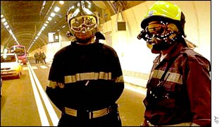 Firefighters in the Mont Blanc tunnel