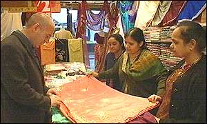A sari shop on the Belgrave Road in Leicester