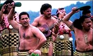Maori men doing haka dance