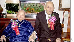 Liu Yung-yang, 103-years-old, sits on right with his102-year-old wife Yang Wan, 4 November 2002, the world's longest married couple