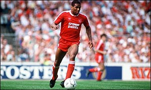John Barnes on the ball for Liverpool
