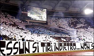 Lazio fans in the Curva Nord at the Stadio Olimpico