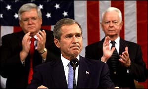 Dennis Hastert and Robert Byrd listen to President Bush's address