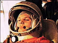 Yuri Gagarin on his way to the launch pad