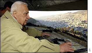 Ariel Sharon looks down on Nablus from army position