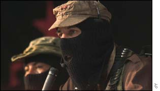 File picture of Zapatista sub-comandante Marcos addresses a national Zapatista meeting in the Chiapas