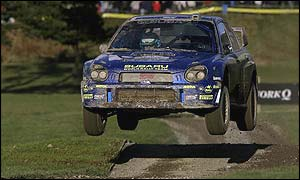 Petter Solberg's Subaru on final day of the Rally GB