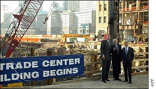 New York Governor George Pataki, developer Larry Silverstein and New York Mayor Mike Bloomberg  at the site