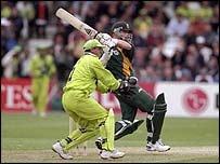 Lance Klusener scores another boundary against Pakistan