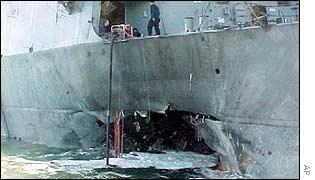 USS Cole following attack in Yemen