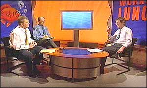 Adrian Chiles, Adam Shaw and John Whiting in the Working Lunch studio