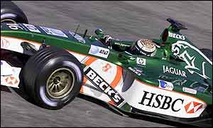 Eddie Irvine in action for Jaguar during 2002