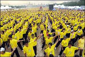 Mass aerobics work-out in Bangkok