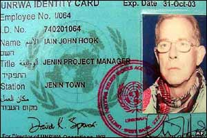 Iain Hook's UN identification card