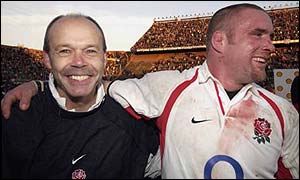 England coach Clive Woodward's smile says it all