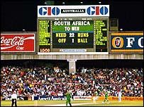 The scoreboard reflects the farce in the closing moments of the semi-final