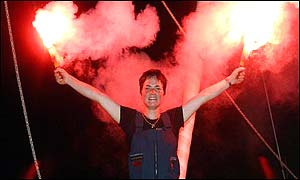 Ellen MacArthur celebrates her Route du Rhum success