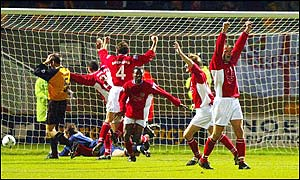 Scarborough celebrate their late equaliser