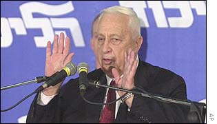 Ariel Sharon thanks supporters in Tel-Aviv