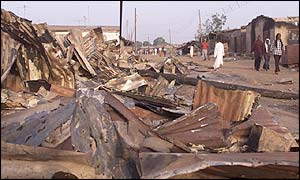 Debris in Kaduna after the recent violence