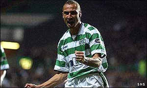 Larsson celebrates his goal