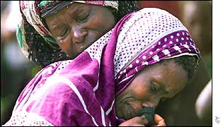 Kenyan relatives mourn the bomb victims
