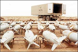 Undated photo of Iraqi chemical warfare bombs which have already been destroyed by UN inspectors