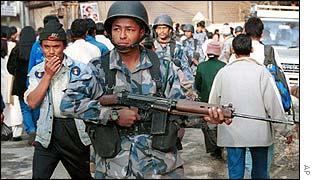 Nepalese police in Kathmandu