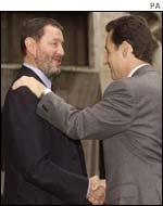 David Blunkett (L) and Nicolas Sarkozy (R)