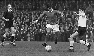 George Best in action for Manchester United in 1966