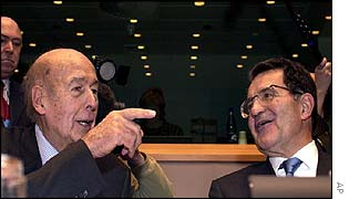 Giscard D'Estaing and Romano Prodi