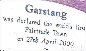 a sign declaring Garstang as the world's first Fairtrade town